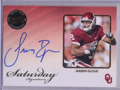 Juaquin Iglesias certified autograph Oklahoma Sooners Press Pass card