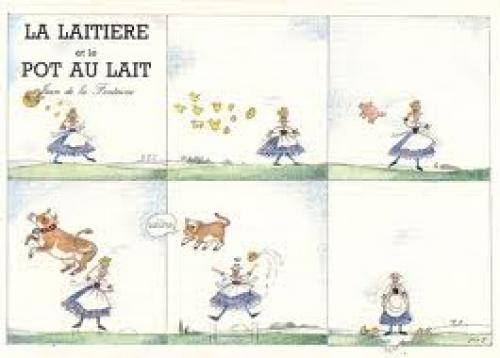 French cartoon postcard of MM in six panels. Monique Touvay, Les Quatre