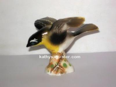 Bone China Black Yellow Wings Spread Bird Figurine