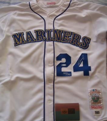 Ken Griffey Jr. autographed Seattle Mariners 1989 Rookie Mitchell & Ness UDA jersey #149/240