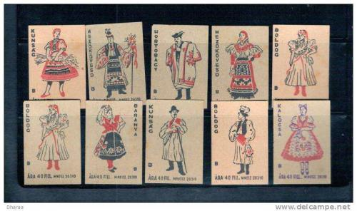 Matchboxes; Different costumes designs