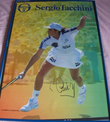 Gabriela Sabatini autographed Sergio Tacchini poster framed