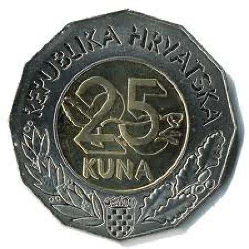 Coins; Croatia 25 kuna; Year 1997; Front image