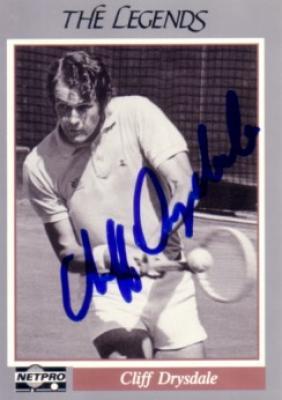 Cliff Drysdale autographed 1991 Netpro Legends tennis card