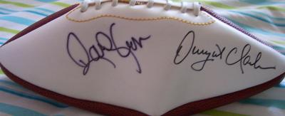 Dwight Clark &amp; Randy Cross autographed full size white panel football