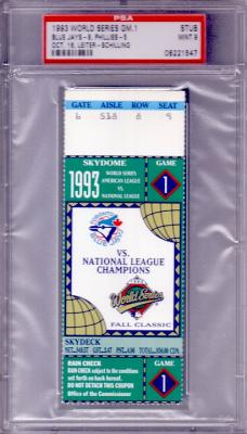 1993 World Series Game 1 ticket stub graded PSA 9 (Toronto Blue Jays win)