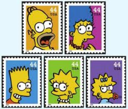 Stamps;  usa bart The Simpsons stamps from USA
