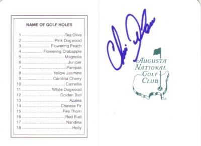 Chris DiMarco autographed Augusta National Masters scorecard