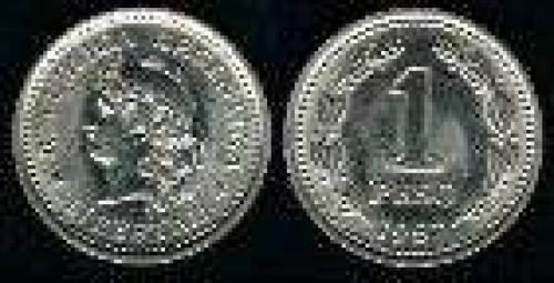 1 Peso; Year: 1957-1983; (km 57); Nickel-Clad-Steel; LIBERTAD