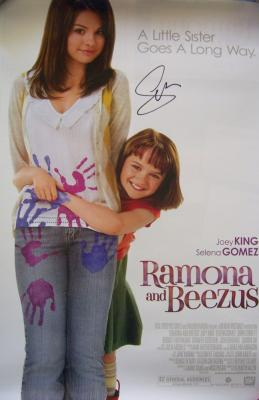 Selena Gomez autographed Ramona and Beezus mini movie poster