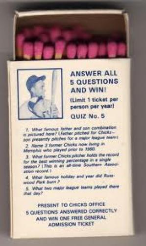 Matchboxes; 1978_memphis_chicks matchboxes