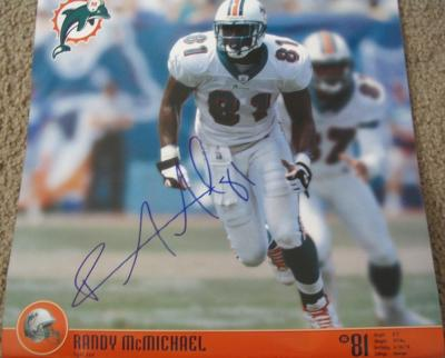 Randy McMichael autographed Miami Dolphins calendar page