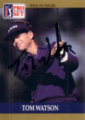 Tom Watson autographed 1990 Pro Set golf card