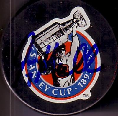 Joe Mullen autographed 1993 Stanley Cup 100th Anniversary puck