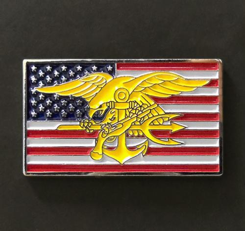 US Navy SEAL trident insignia in Flag badge pin