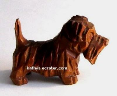 Carved Wood Scottish Terrier Dog Animal Figurine