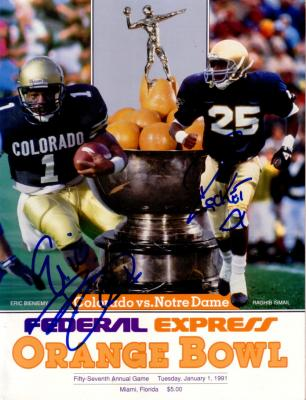 Raghib Rocket Ismail & Eric Bieniemy autographed 1991 Orange Bowl program