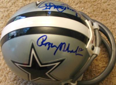 Tony Dorsett &amp; Roger Staubach autographed Dallas Cowboys mini helmet