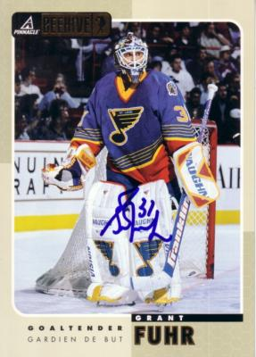 Grant Fuhr autographed St. Louis Blues 1997 Pinnacle Beehive 5x7 jumbo card